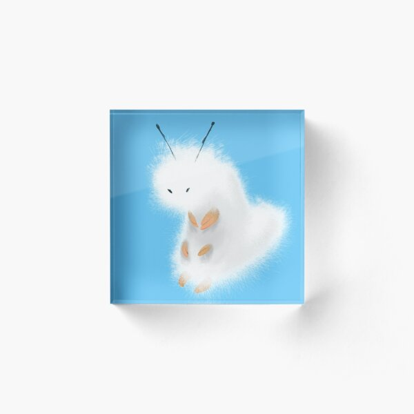 Fuzzy White Humble Caterpillar  Acrylic Block