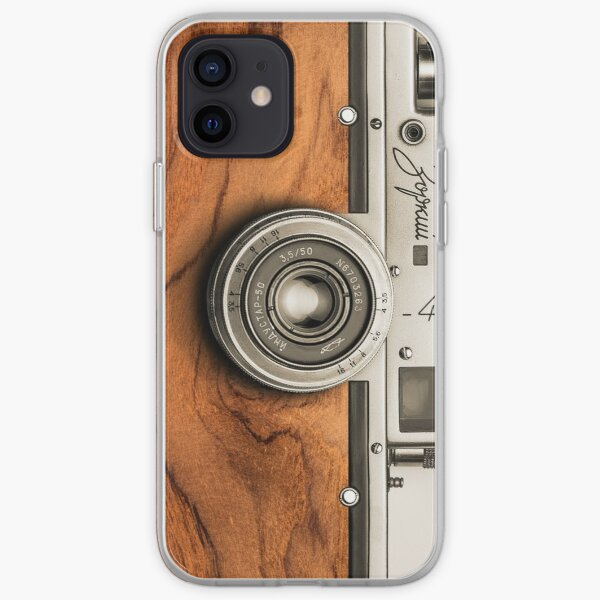 Retro camera with wooden style for stylish photographer gift iPhone Soft Case