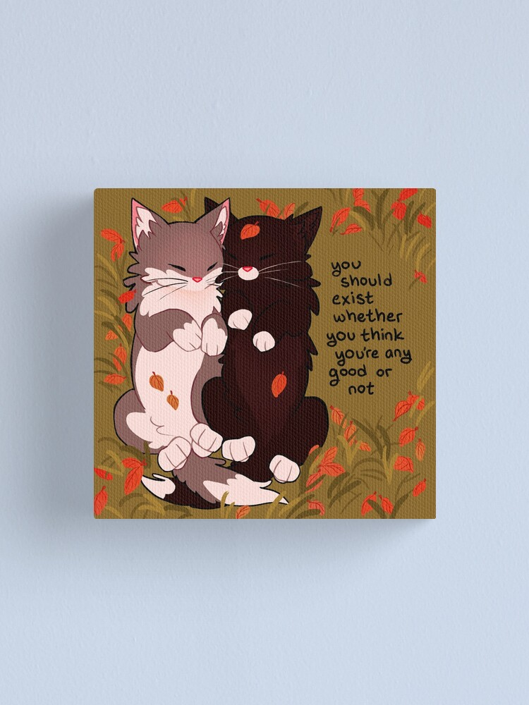 """Alternate view of """"you should exist whether you think you're any good or not"""" Snuggly Fall Kittens Canvas Print"""