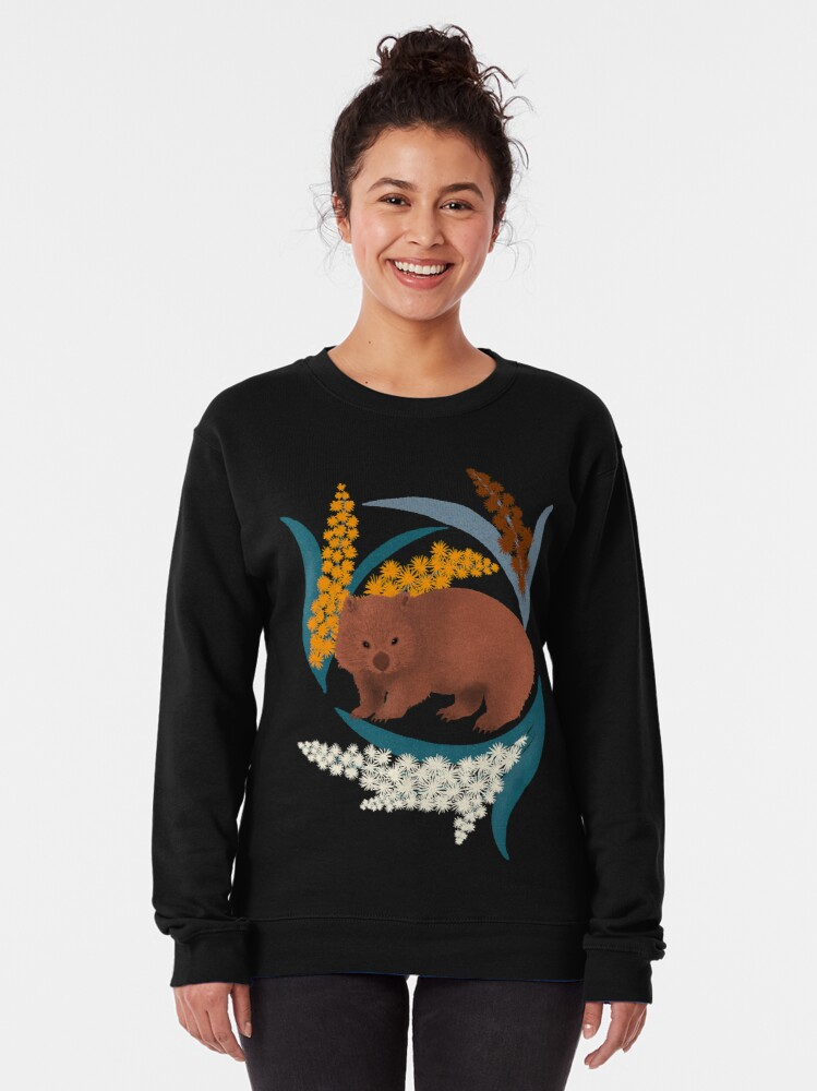 Alternate view of Wombat and Mimosa (aka waddle and wattle) Pullover Sweatshirt