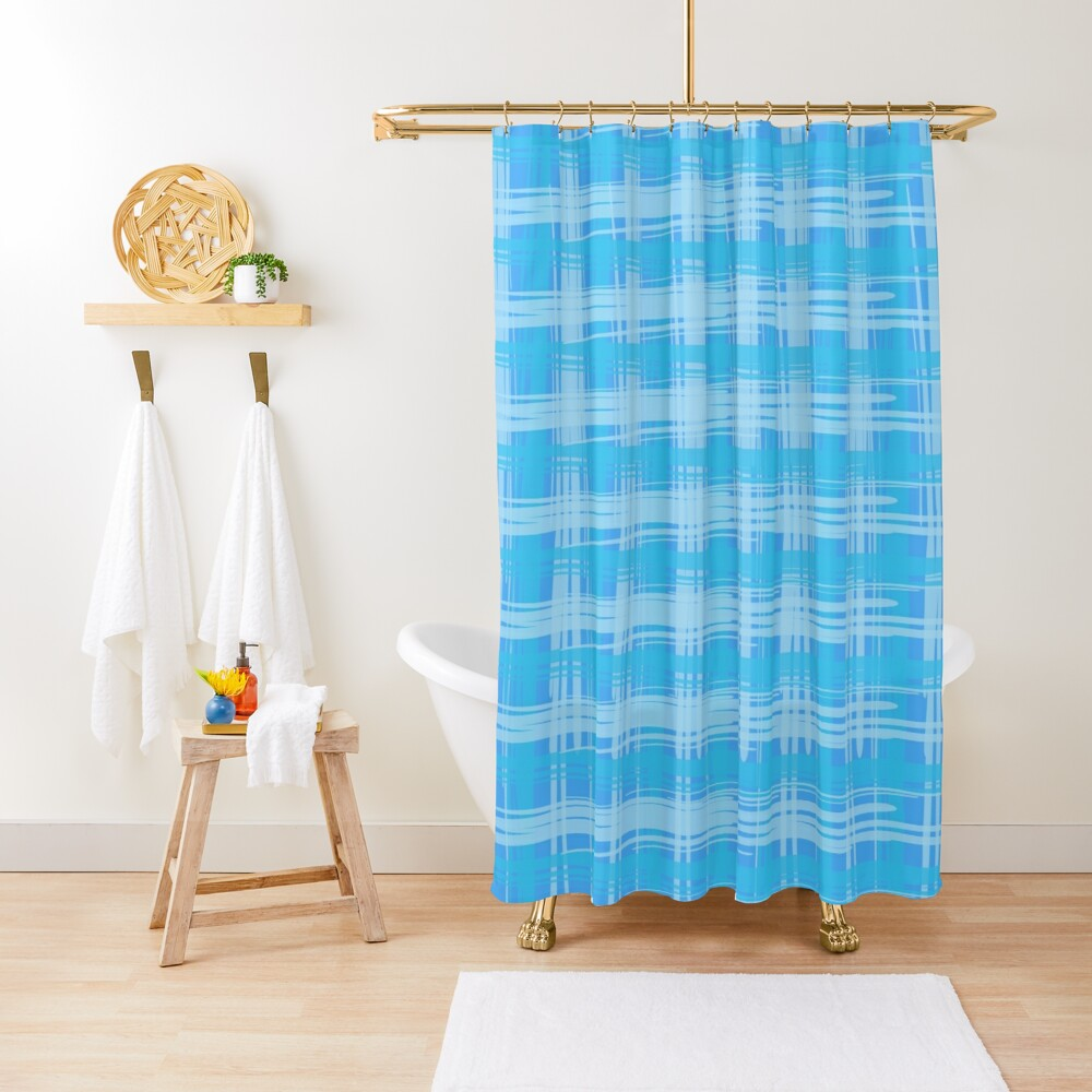 Sky Plaid Shower Curtain