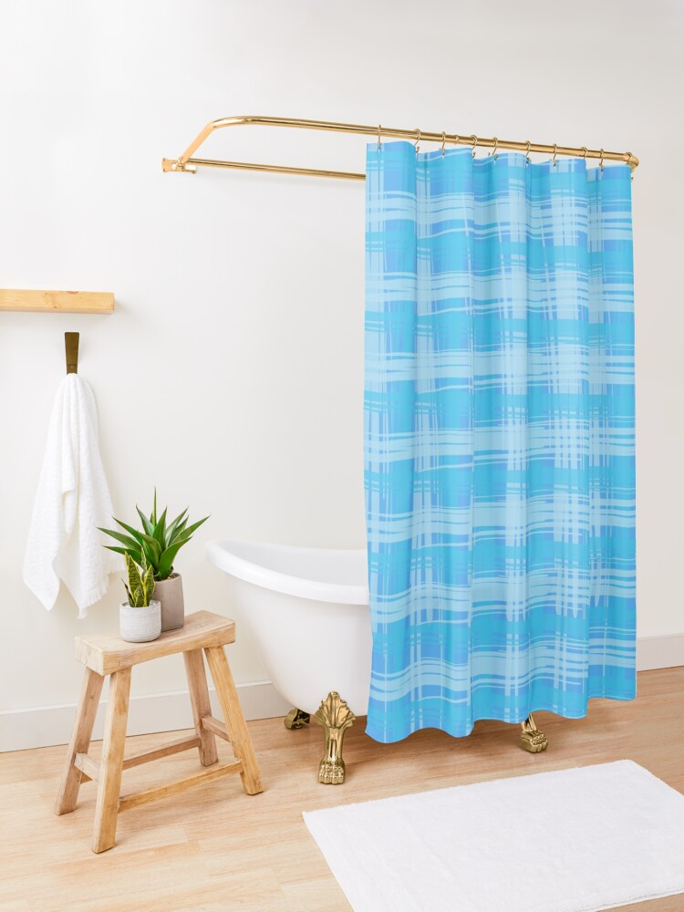 Alternate view of Sky Plaid Shower Curtain