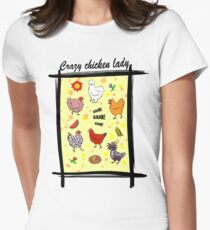 Cute seamless chickens pattern cartoon Womens Fitted T-Shirt