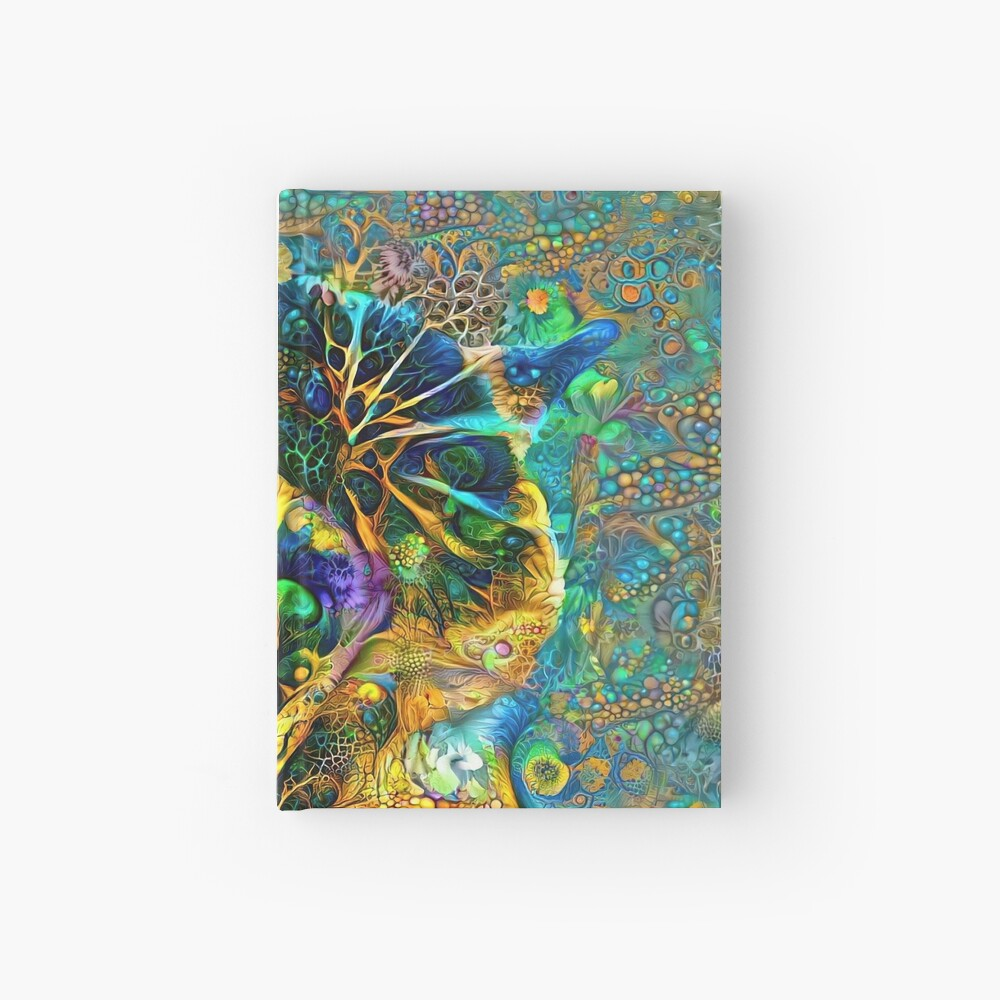 Deepdream floral cat abstraction Hardcover Journal