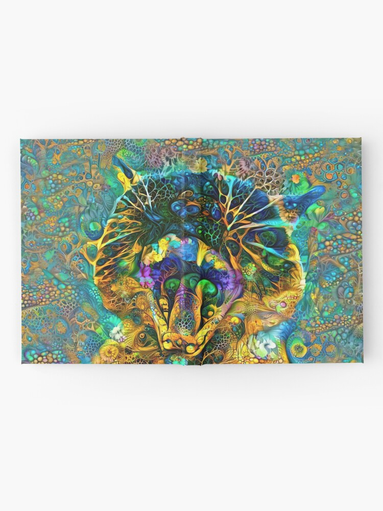 Alternate view of Deepdream floral cat abstraction Hardcover Journal