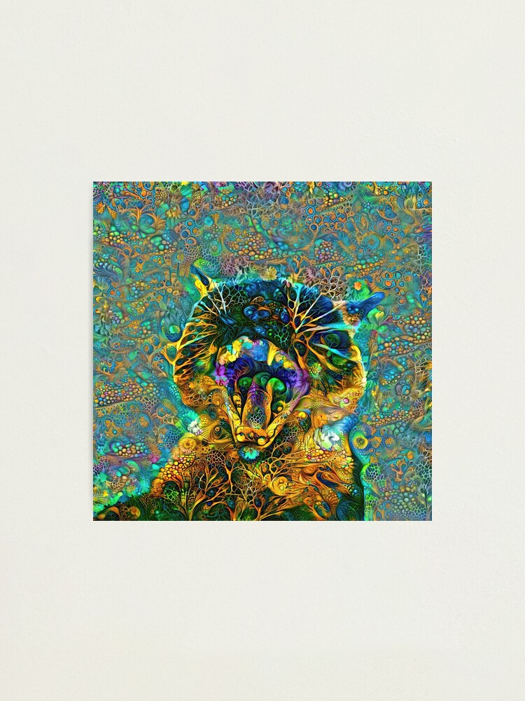 Alternate view of Deepdream floral cat abstraction Photographic Print