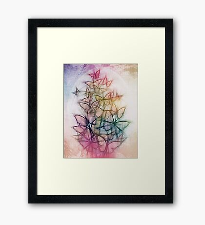 Rainbow Colored Butterfly Sketch Drawing Framed Print