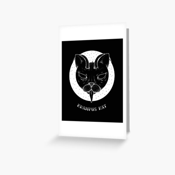 Grumpy Cat Krampus Kat All Black Greeting Card