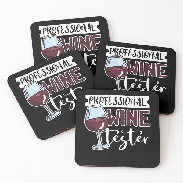 Wine Tasting Glass Alcohol Drinker Liquor Drinking Humor Fun Coasters (Set of 4)
