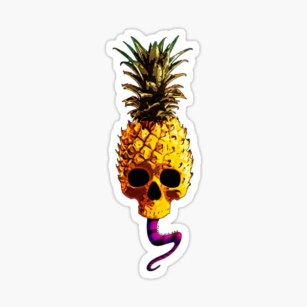 Skull Pineapple - Grunge Fruit Skull Sticker