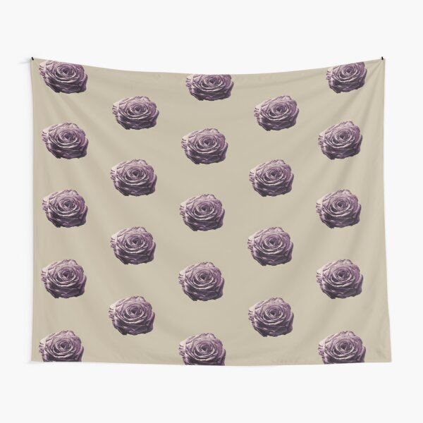 Purple and Lilac Open Floral Country Farm Rose in beige Tapestry