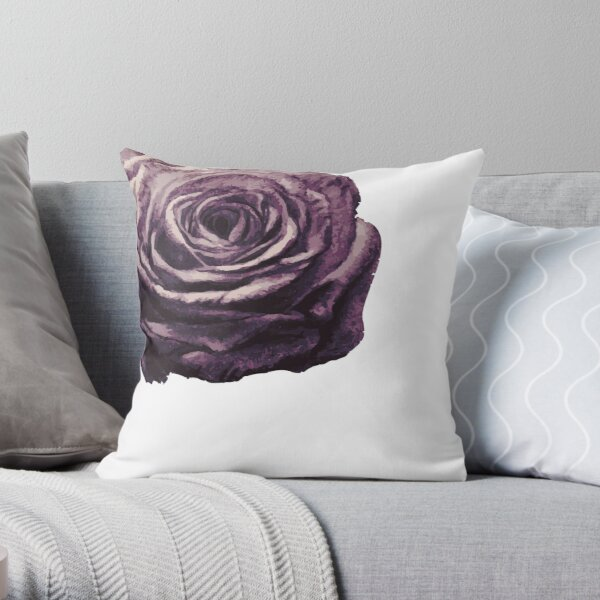 Purple and Lilac Open Floral Country Farm Rose in White Throw Pillow