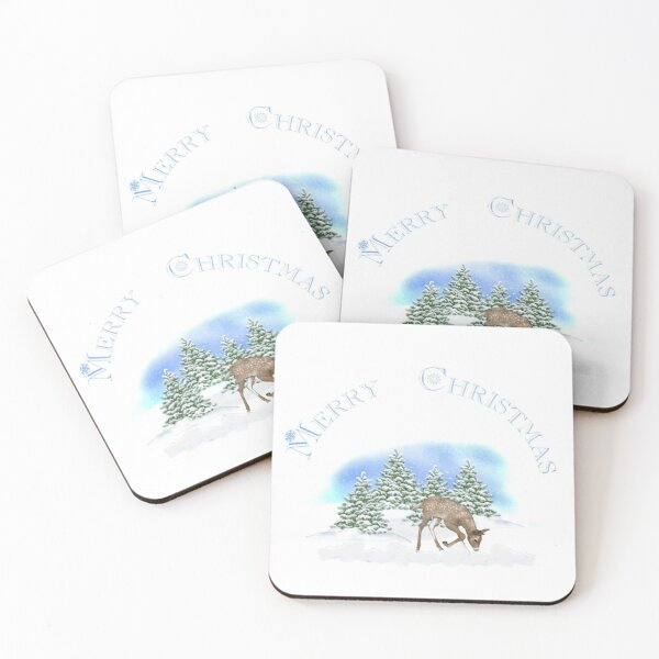 Merry Christmas Rudolph Coasters (Set of 4)