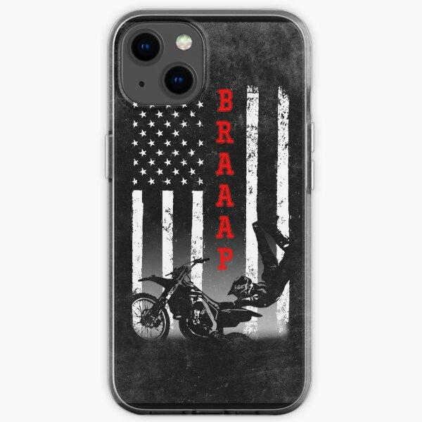 drapeau américain motocross noir Coque souple iPhone