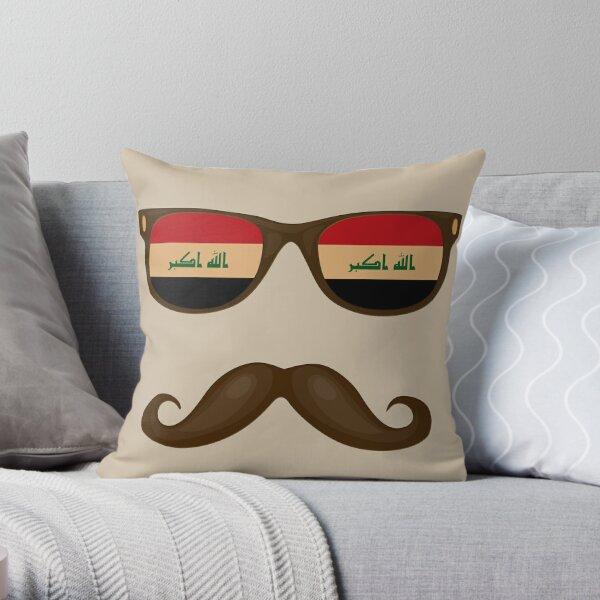 Iraqi Flag Sunglasses Moustache - Iraqi Guy - Iraq Flag Throw Pillow