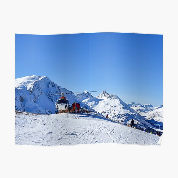 Helicopter on the ski slope, rescue Poster