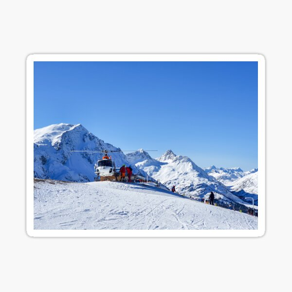 Helicopter on the ski slope, rescue Sticker