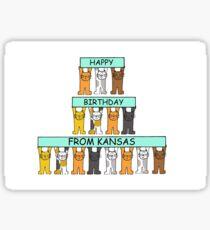 Cats Happy Birthday from Kansas Sticker