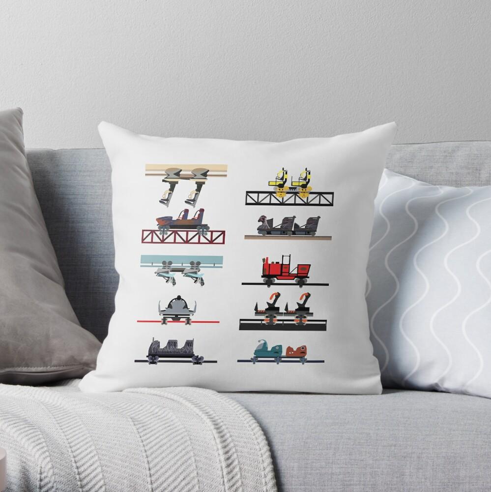 Alton Towers Coaster Cars Design Throw Pillow