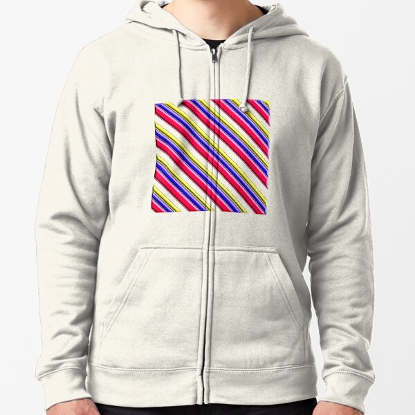 red, blue, and yellow stripes Zipped Hoodie