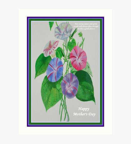 Happy Mothers Day Loving Nature And Delicate Words Art Print