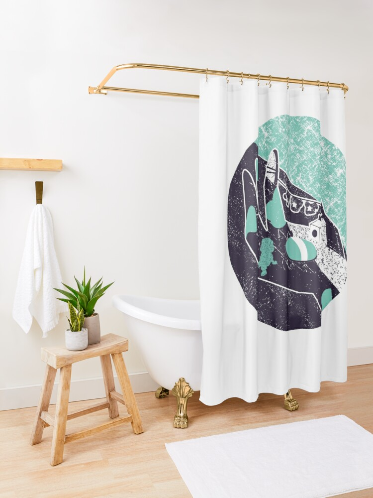 Alternate view of On the hand Shower Curtain