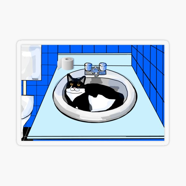 Cute Tuxedo Cat in the bathroom basin Transparent Sticker