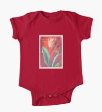 Mother's Day Greetings Red and Yellow Tulips One Piece - Short Sleeve