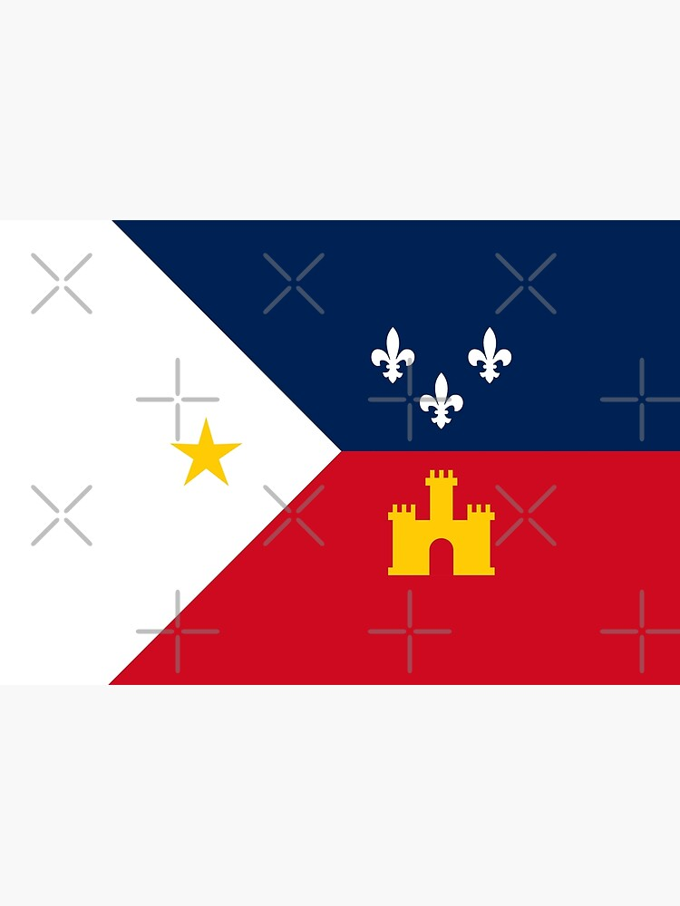 Acadiana flag Official French Louisiana region Franco-Amrerican Cajun Creole Red blue white HD High Quality by iresist
