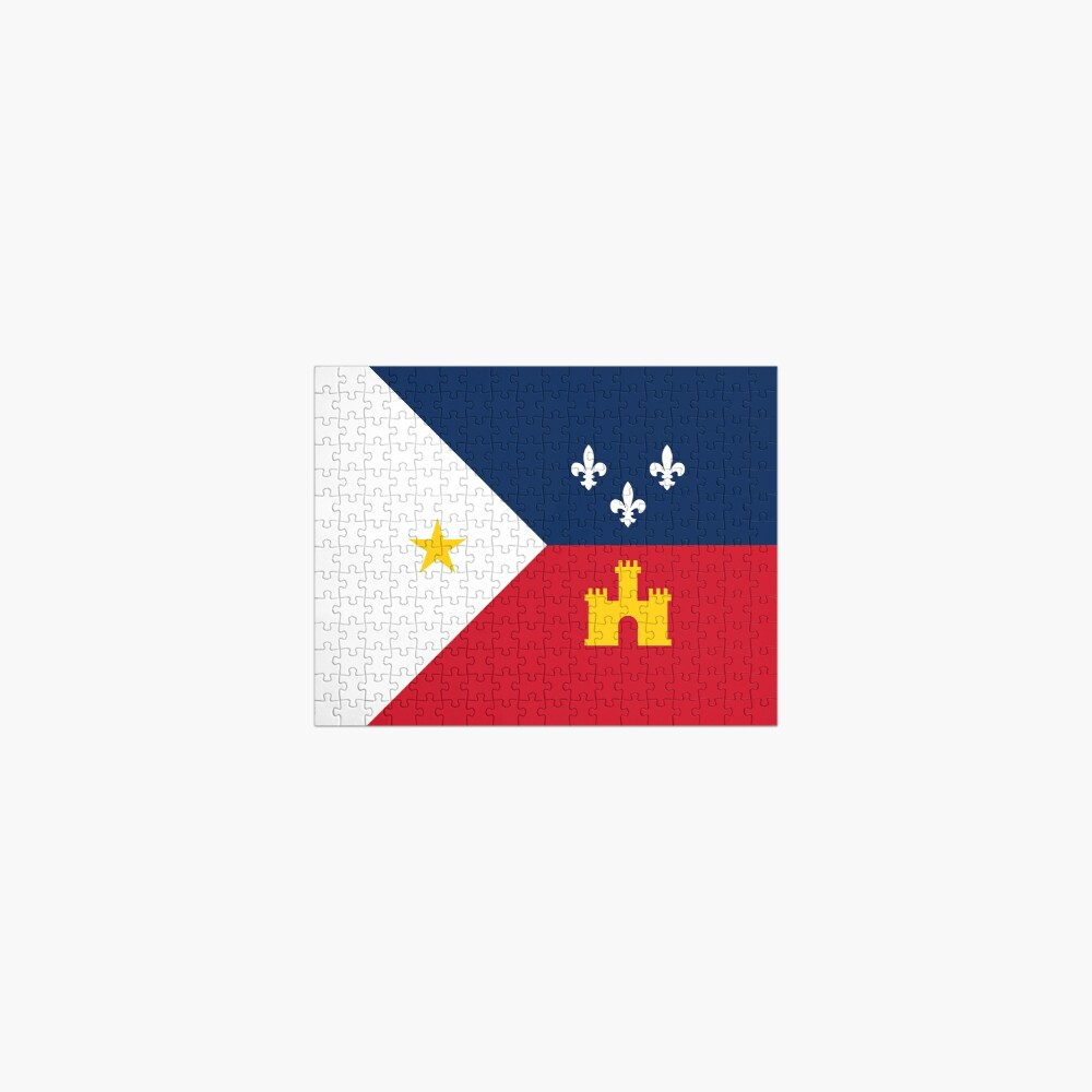 Acadiana flag Official French Louisiana region Franco-Amrerican Cajun Creole Red blue white HD High Quality Jigsaw Puzzle