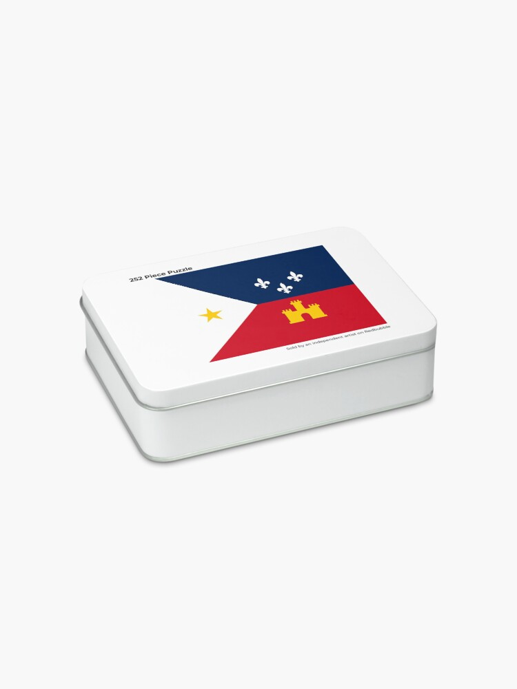 Alternate view of Acadiana flag Official French Louisiana region Franco-Amrerican Cajun Creole Red blue white HD High Quality Jigsaw Puzzle