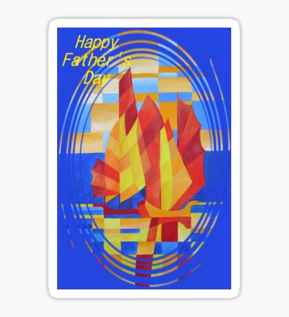 Happy Father's Day Sailing on the Seven Seas so Blue Cubist Abstract Sticker