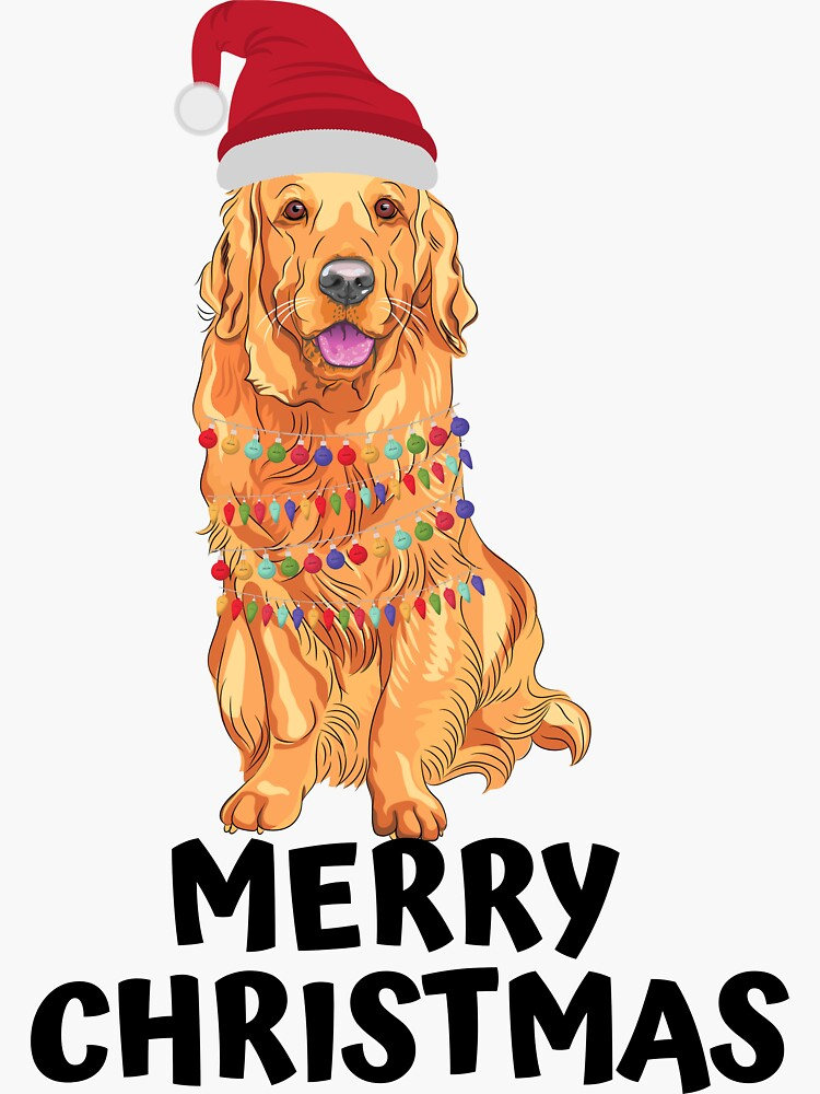 Golden retriever with Christmas lights and hat wishes you a merry Christmas by ds-4