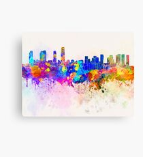 Incheon skyline in watercolor background Canvas Print