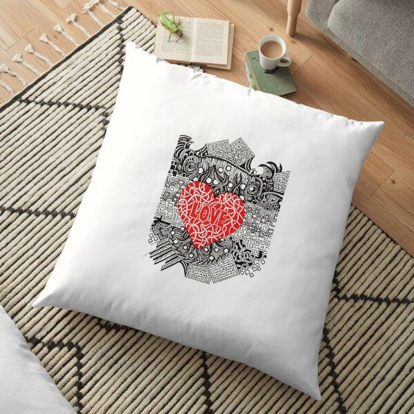 Love - Doodle Drawing Floor Pillow