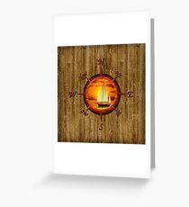 Sailboat And Compass Rose Greeting Card