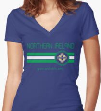 Euro 2016 Football - Northern Ireland (Away Blue) Women's Fitted V-Neck T-Shirt