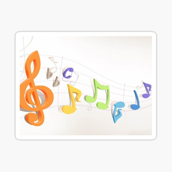 depicting notes with colors Sticker