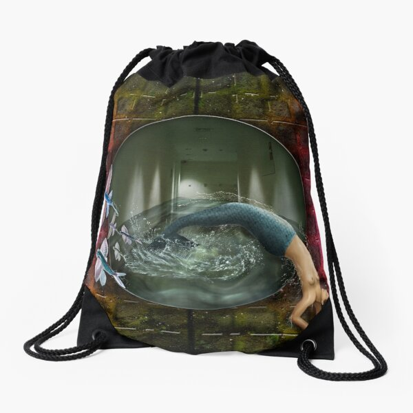 Against The Tide Drawstring Bag