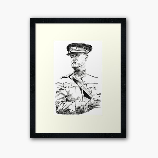 Michael Collins Black and White Drawing Framed Art Print