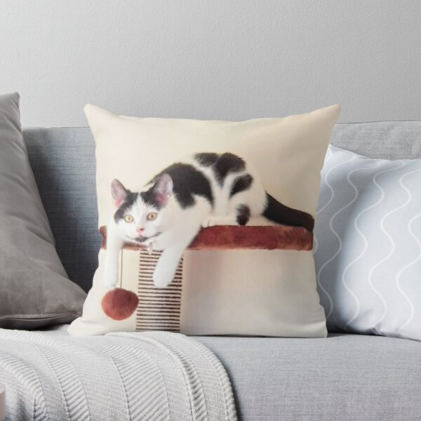 Black and White Cat Playing  Throw Pillow