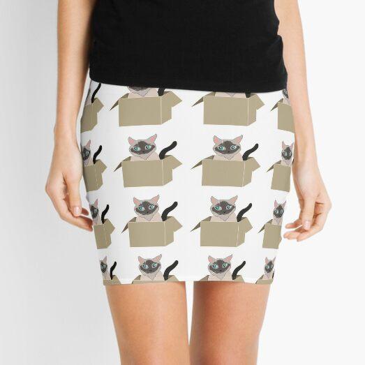 Siamese cat in the box Mini Skirt
