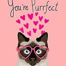 Siamese Cat valentines day love hearts gift for cat lady cute kitten funny cats by PetFriendly
