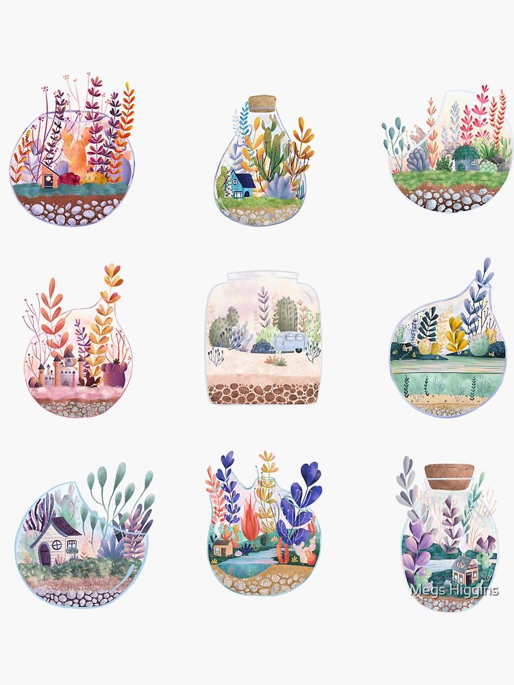 Succulent Terrarium Set + Sticker Sheet by megsneggs