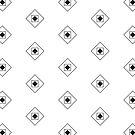 Black & White Rhombus & Squares Pattern by Alina Shevchenko