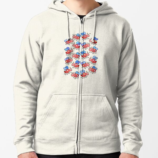 Cute and Colorful Ladybug Pattern Zipped Hoodie