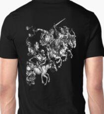 Apocalypse, Durer, Four Horsemen of the Apocalypse, Revenge, Biblical, Prophesy, White on Black T-Shirt