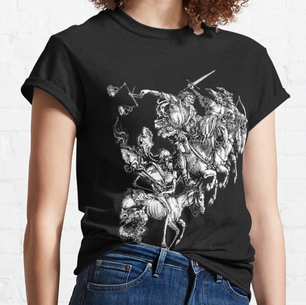 Apocalypse. Durer, Four Horsemen of the Apocalypse, Revenge, Biblical, Prophesy, White on Black. Classic T-Shirt