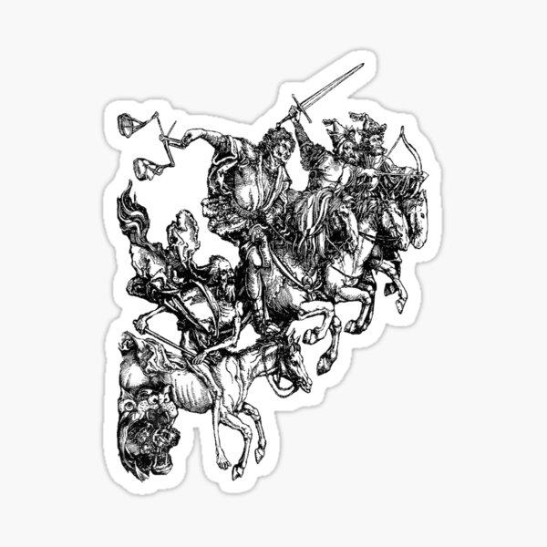 Apocalypse. Durer, Four Horsemen of the Apocalypse, Revenge, Biblical, Prophesy, White on Black. Sticker