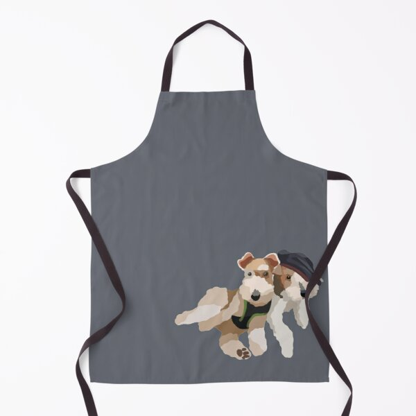 Lying Wire Fox Terrier Dog Portrait Digital Illustration Apron